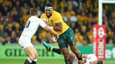Well held: Samu Kerevi looks for a gap in Melbourne.