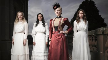 The new breed: (l-r) Samara Weaving as Irma, Madeleine Madden as Marion, Natalie Dormer as Mrs Appleyard and Lily Sullivan as Miranda.