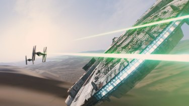 A scene from <i>Star Wars: The Force Awakens</i>, which was seen in Australian cinemas for the first time on Wednesday night.