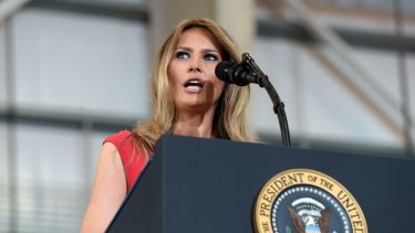 "Melania Trump speaks at the ""Make America Great Again Rally"" in Florida on February 18, 2017."