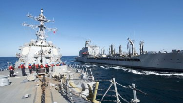 Guided-missile destroyer USS Bulkeley in a replenishment-at-sea