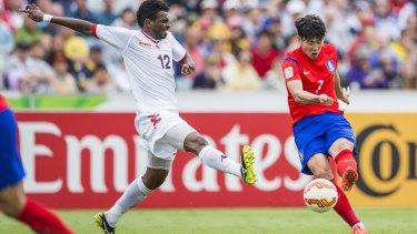 Son Heung Min of the Korean Republic attacks the goal.