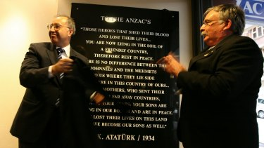 "Ataturk's ""words"" are replicated widely: here, they are unveiled at Sydney's Anzac House by Turkish consul-general Nihat Ersen and NSW RSL president Don Rowe in 2007."