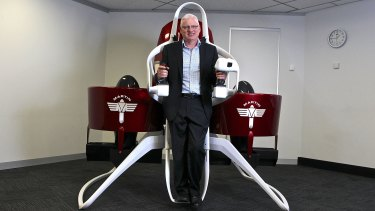 The focus of Martin Aircraft's marketing campaign is to sell the jetpacks, which can fly up to two passengers.