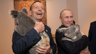 Tony Abbott and Russian President Vladimir Putin with koalas.