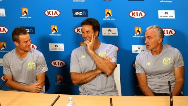 Brains trust: Lleyton Hewitt, Pat Rafter and Wally Masur at the announcement on Thursday.