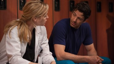Melissa George as Dr Alex Panttiere and Don Hany as Dr Jesse Shane in <i>Heartbeat</i>.