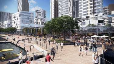 An artist's impression of the current Fish Market area, to be redeveloped as the Bays market district and promenade.