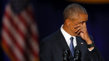President Obama wipes away tears as he delivers his farewell speech in Chicago on January 10.