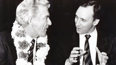 Paul Keating, Bankstown's most famous son, with Bob Hawke at a reception in Bankstown in 1987.