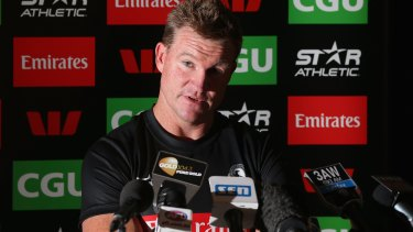Collingwood coach Nathan Buckley speaks to the media on Tuesday.