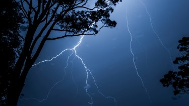 A line of severe thunderstorms track east over the Blue Mountains late on Thursday night.