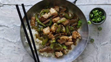 Stir-fried pork and celery.