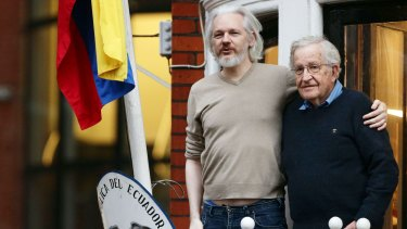 Rare appearance: Julian Assange with Noam Chomsky on the balcony of the Ecuadorian Embassy in London.