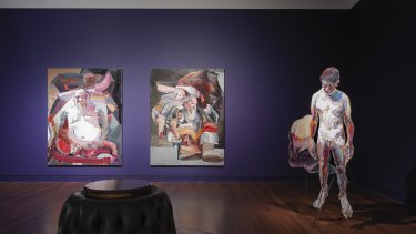 Installation view: Quilty featuring Pancreatitis (Kenny), The Last Supper (Bottom Feeder) and Farewell virginity by Ben Quilty at the Art Gallery of South Australia.