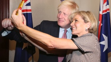 British Foreign Secretary Boris Johnson has a selfie with Australian Foreign Minister Julie Bishop ahead of their bilateral meeting in Sydney.