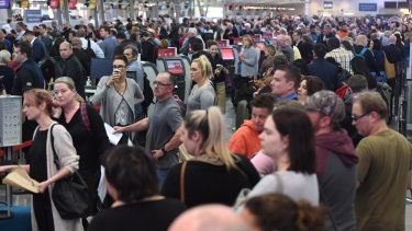 Huge queues are seen at Sydney Airport this week as passengers were subjected to increased security measures.