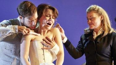 Pinchgut Opera's <i>Bajazet</i> stars Christopher Lowrey (Tamerlano), Emily Edmonds (Asteria) and Helen Sherman (Irene).