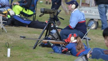 Target rifle shooting by New England Girls' School.