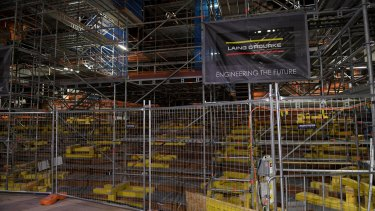 Construction at the Sydney Opera House on July 26, two days after asbestos was found.