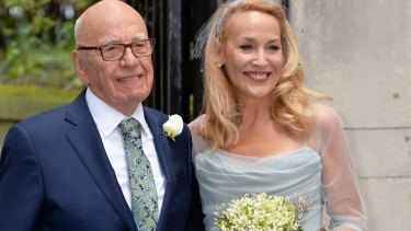 The happy couple: Rupert Murdoch and Jerry Hall.