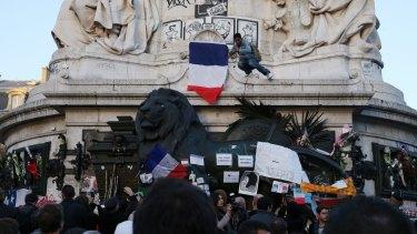 A vigil at the Place de la Republique in Paris for the terrorist victims.