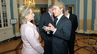 Ronan Farrow with Hillary Clinton during his time as a foreign services officer.