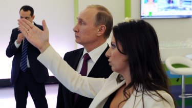 Russian President Vladimir Putin and RT's Editor-in-chief Margarita Simonyan in Moscow, Russia.
