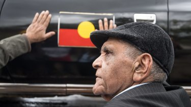 Uncle Herb Patten welcomes the car, with the Aboriginal flag on the door, back into commission.
