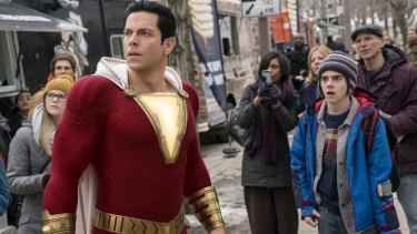 Zachary Levi (left) and Jack Dylan Grazer in a scene from Shazam!.