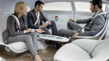 A glimpse into the future? The interior of the driverless Mercedes-Benz F015 concept car.
