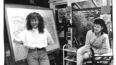 The Melbourne Map founders Melinda Clarke (left) and illustrator Deborah Young in 1990.