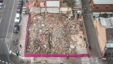 An aerial view of the site the day after the pub was demolished on 15-16 October.