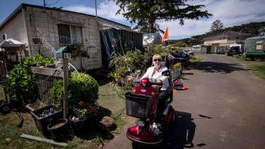 Beverly Bolton in the BP Caravan Park, where she has lived for more than 20 years.