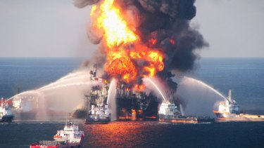 Fire boat response crews battle the blazing remnants of the real oil rig Deepwater Horizon, off Louisiana, in 2010.