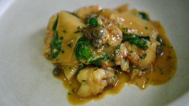 Go-to dish: Maltagliati di pane with bugs, colatura, capers and spinach.