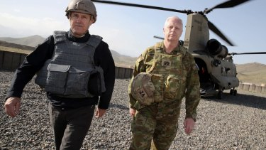 Malcolm Turnbull and ADF chief Air Marshall Mark Binskin in Afghanistan.