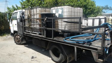 The Department of Environment and Heritage Protection is cracking down on unlicensed waste management operators. Pictured is unlicensed regulated waste chemical transport.