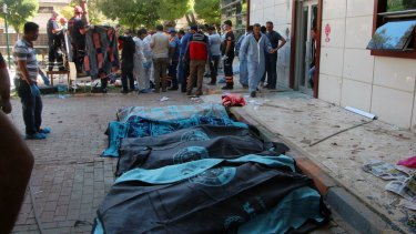 Bodies lie on the ground after the attack on Monday.