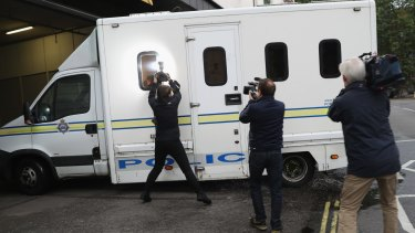 A police van believed to be carrying Thomas Mair arrives to Westminster Magistrates' Court on Saturday.