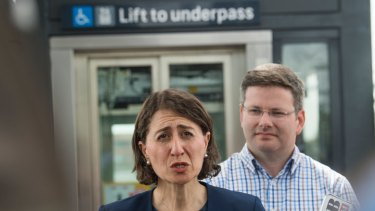 NSW Premier Gladys Berejiklian and Member for Oatley Mark Coure announce a new lift at Narwee rail station
