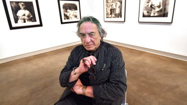 Joel-Peter Witkin at William Mora Galleries with some of his works in the exhibition.
