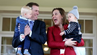 Social Services Minister Christian Porter with his son Lachlan and Financial Services Minister  Kelly O'Dwyer with her daughter Olivia at the ministerial swearing ceremony in July.