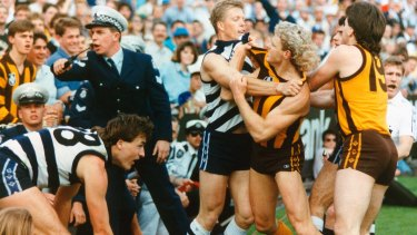 Geelong's Steve Hocking and Hawthorn's Dermott Brereton scuffle in the 1989 grand final.
