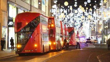 Buses are parked on Oxford Street after the area was evacuated.