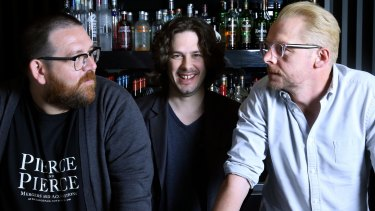 The World's End director Edgar Wright, centre with stars Simon Pegg and Nick Frost.