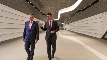 Premier Mike Baird and Transport Minister Andrew Constance at the opening.