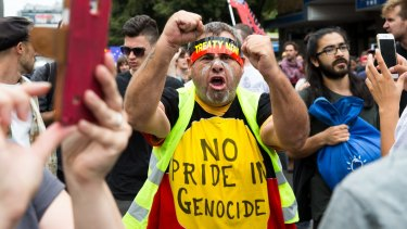 Protesters vent their anger during the march in Sydney.