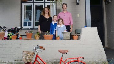 Sydney family Bronwen Morgan, Jim Conley and their kids Cassidy, 9, and Brooklyn, 7, have not owned a car in five years.