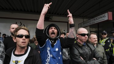 A United Patriots Front member at the Bendigo mosque protest in August. The hardline group, instrumental in organising Saturday's Bendigo rally, now says it does not support other protests on the day.